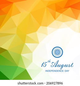 Vector geometric background in Indian flag style. Vector illustration concept Indian Independence Day celebrations.