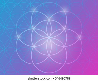 Vector geometric background is. Bright pattern. Sacred geometry, flower of life. Psychedelic motifs