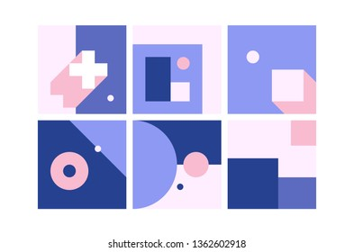 Vector Geometric Backgrounds set in blue pink colors. Simple Minimalistic Colorful Pattern based on Grid and keyline shapes. Artwork Business Web Presentation Cover Fabric