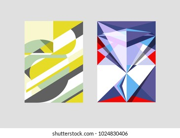 Vector geometric backgrounds with trendy abstract shapes. For cover, poster or brochure.