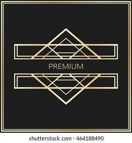 Vector geometric badge in Art Deco style. Gold abstract element for design.