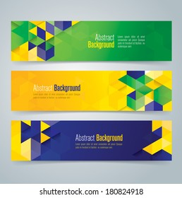 Vector geometric banner in Brazil flag concept. Can be used in cover design, website background or advertising.