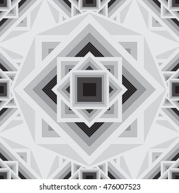 Vector geometric black and white seamless pattern.  Stylish Aztec mandala squares background.