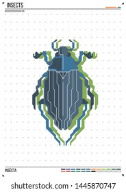 Vector geometric bug or beetle. Insect on poster background. Ideal for print, greeting card, nursery poster.