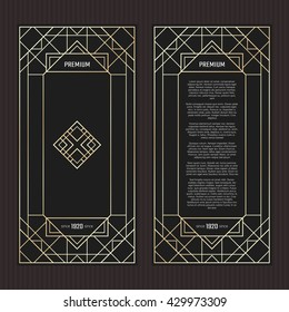 Vector geometric cards in Art Deco style. Premium abstract design. Light golden frame in luxury style. Menu with logo. Black and gold tickets.