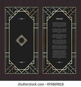 Vector geometric cards in Art Deco style. Light golden flyers. Premium vector frame in luxury style. Restaurant menu with logo. Black and gold tickets.