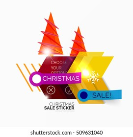 Vector Geometric Christmas Sale Stickers - shiny paper style elements with holiday concepts - Snowflake and New Year Tree
