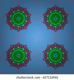 Vector geometric circle elements. Oriental motifs. Spiritual and ritual symbol of Islam, Arabic, Indian religions. Round Ornament Pattern on a background. Colored Mandala.