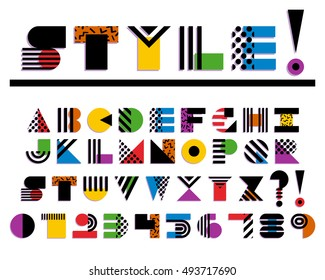 Vector Geometric Colorful Font Isolated. 90s 80s Style