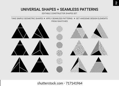 Vector geometric constructor shapes set. You can easy edit, paint, ungroup and change figures, create own design of clothing, interior, decor etc. All seamless patterns in swatches, apply it for forms