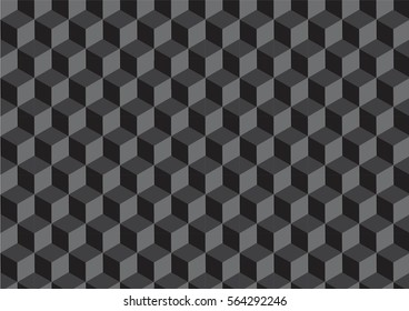 Vector geometric cubes pattern, black seamless background