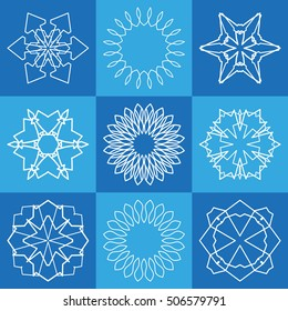 Vector geometric elements collection for business logo, icon and label emblems. Creative idea brand identity signs. Ornamental mandala symbol set. Line geometrical floral shape of stylized flower or star