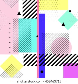 Vector geometric elements memphis cards. Retro style pattern from trendy 80s. Modern abstract design poster, cover, card.
