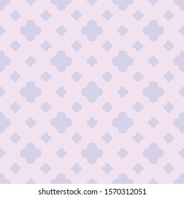 Vector geometric floral seamless pattern. Simple repeat minimal texture. Light lilac color. Elegant abstract background. Minimalist ornament with small flower silhouettes, diamonds, stars, crosses