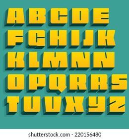 Vector geometric font. 3D letters