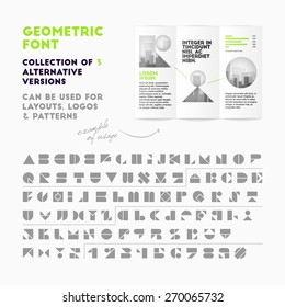 Vector geometric font collection of 3 alternative versions. High quality design element