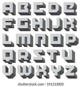 Vector geometric font. Square letters. Modern 3D type. Black and white typeface.