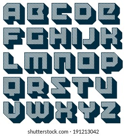 Vector geometric font. Square letters. Modern type. Brick typeface with long diagonal shadow