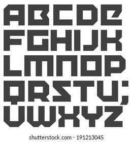 Vector geometric font. Square letters. Modern type. Brick typeface