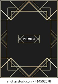 Vector geometric frame in Art Deco style. Rectangle vector abstract element for design.