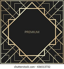 Vector geometric frame in Art Deco style. Square abstract element for design.