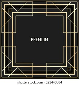 Vector geometric frame in Art Deco style. Square abstract element for design. Light golden lined shape