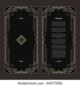 Vector geometric frame in Art Deco style. Rectangle abstract element for design. Black and golden lined shape. Sandblasting ornament