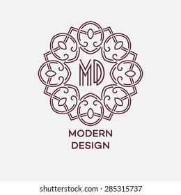 Vector geometric frame in mono line style. Monogram design element. Vector illustration EPS 10