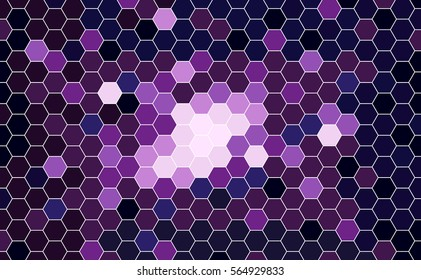 Vector Geometric Galaxy background with Hexagons. Blue, Magenta, Violet Hexagons.