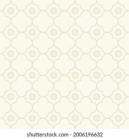 Vector geometric grid small flower seamless pattern cream grey color background. Simple Sino-Portuguese or Peranakan pattern. Use for fabric, textile, interior decoration elements, upholstery.