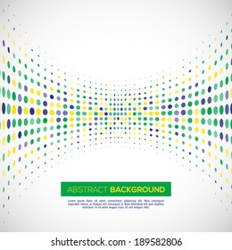 Vector geometric halftone background in Brazil flag concept.