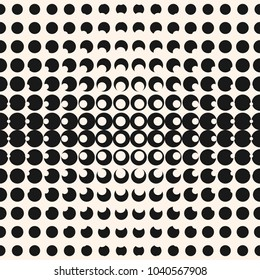 Vector geometric halftone seamless pattern with circles, dots. Monochrome black and white texture. Abstract repeat background with gradient transition. Optical illusion effect. Modern stylish design