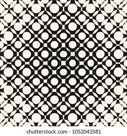 Vector geometric halftone seamless pattern with circles, crossing shapes, mesh, grid, lattice. Abstract black and white texture. Radial gradient transition effect. Trendy modern monochrome background