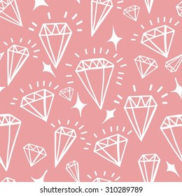 Vector geometric hand drawn seamless pattern of diamonds