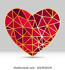 Vector geometric heart shape icon red and gold color isolate
