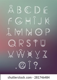 Vector geometric hipster modern creative font, abc, letters on blur background