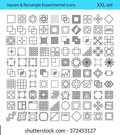 Vector geometric icons for UX/UI tools and mobile prototypes with Square and Rectangle shapes