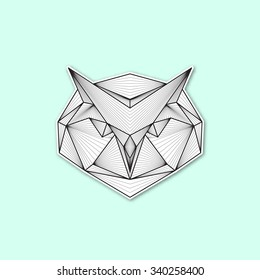 Vector geometric illustration of a owl head.