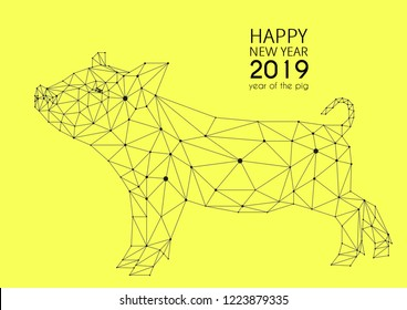 Vector geometric image of a pig on a yellow background. Low poly illustration. Happy New Year! 2019 year of the pig.