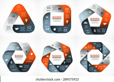 Vector geometric infographic. Template for cycle diagram, graph, presentation and round chart. Business concept with 3, 4, 5, 6, 7, 8 options, parts, steps or processes. Abstract data background.
