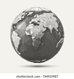 Vector geometric line- art earth globe illustration. Black and white polygonal drawing.