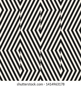 Vector geometric lines seamless pattern. Modern monochrome texture with diagonal stripes, broken lines, chevron, zigzag. Simple abstract geometry. Black and white graphic background. Trendy geo design