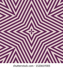 Vector geometric lines seamless pattern. Abstract linear background in purple and lilac color. Graphic texture with stripes, diagonal lines, rhombuses, stars, repeat tiles. Elegant modern geo design