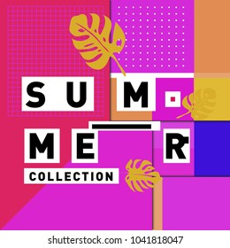 Vector geometric Memphis summer collection poster. Design template for summer holiday season.