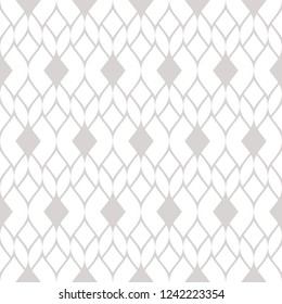Vector geometric mesh seamless pattern. Subtle abstract ornament in gray and white colors. Texture with delicate grid, lace, net, weave, tissue, knitting. Silver ornamental background. Repeat design