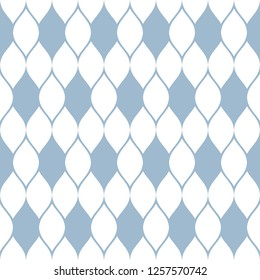 Vector geometric mesh seamless pattern. Delicate abstract ornament in light blue and white colors. Texture of grid, lace, net, tissue, knitting, crochet. Subtle background. Repeat decorative design