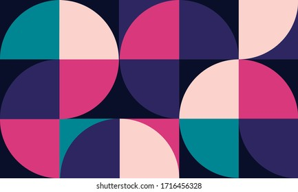 Vector geometric minimalistic artwork poster with simple geometrical shapes. Abstract vector pattern design in Scandinavian style for web banner, presentation, branding, print, poster, flyer, card