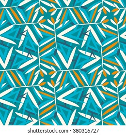 Vector geometric pattern with floral motifs, rotating palm or bamboo leaves. Seamless background in vintage style of 1960s in blue, beige, orange colors. Old fashion textile print in art deco style