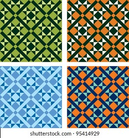 vector geometric pattern in four color variations