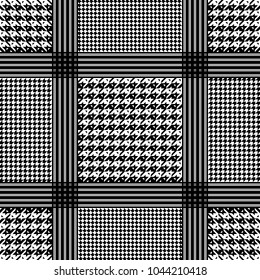 Vector geometric pattern goose foot and hound tooth for headdress. Classic keffiyeh for the Eastern men in Arabic traditions.